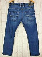 Mens Diesel Krooley 0802D Blue Jeans Regular Slim Carrot Fit Zip Fly W33 L31 VGC