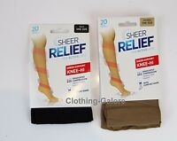 SHEER RELIEF SUPPORT KNEE-HI MEDIUM COMPRESSION 20 DENIER BLACK NUDE BEIGE