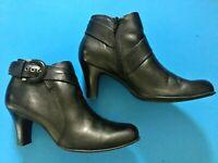 Nurture Napa Black Leather Ankle Boots Side Zipper Women's Size 10M