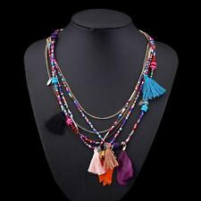 Fashion Bohemian Feather Tassel Beaded Pendant Long Chain Necklace Colorful MT