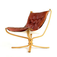 Retro Vintage Leather Falcon Lounge Chair Armchair Sigurd Ressell 1960s Danish