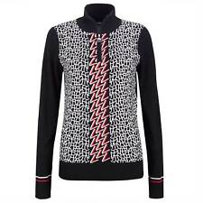 NWT Golfino Ladies ARCTIC JACQUARD TROYER Black 1/4 Zip Sweater Size 8 10 12 NEW