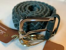 $700 Loro Piana Green Men's Suede and Cashmere Woven Belt Size 38 Made in Italy