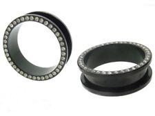 "PAIR OF 1"" 1/8  28mm stone black titanium FLESH TUNNELS gem PLUGS gauges bling"