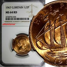 GREAT BRITAIN Elizabeth II 1967 1/2 Penny NGC MS64 RD FULL RED TONING KM# 896