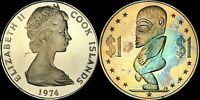 1974 COOK ISLANDS ONE DOLLAR COLOR TONED COIN IN HIGH GRADE !!!