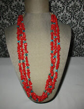 Vtg-Authentic-3-Strand-Red-Coral-Topaz-Sterling-Thick-Wrapped-Corded-Silk-Finish