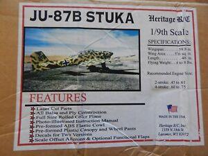 """HERITAGE R/C  """"STUKA JU-87B"""" 1/9 SCALE  .45*.61 (2-STROKE) .60-.75 (4*STROKE)"""