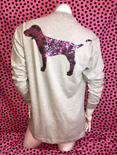 Victoria's Secret PINK Bling Long Sleeve Campus Tee HIBISCUS BLING DOG *NWT* S