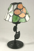 Lamp Style Votive Candle Holder w/ Stained Glass Style Resin Shade