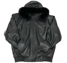 MENS GENUINE LAMBSKIN LEATHER BASEBALL JACKET FOX FUR HOOD BLACK BOMBER S TO 6XL