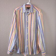 Lenor Romano Long Sleeve Dress Shirt Multicolor Stripe Mens Large Pocket