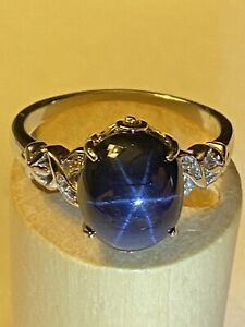 7.88ct Blue Star Sapphire Ring Size T/U 925 Solid Silver.