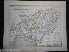 Original Antique Map of Caermarthenshire (South Wales)  c1850s - Dugdales/Welsh