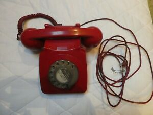 GPO RED ('BAT PHONE') ROTARY  DIAL 746 VINTAGE TELEPHONE