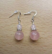 Lovely quality small  ROSE QUARTZ'AA'  drop EAR RINGS St Silver Gift wrapped