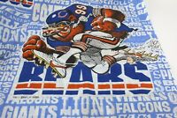 VTG 80s NFL Twin Flat Sheet Raiders Bears Mascot Football Players Logo Sports