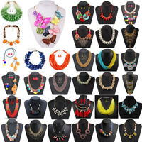 Fashion Women Crystal Tassel Pendant Bib Choker Chunky Chain Statement Necklace