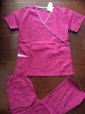 Beverly Hills #2400 New Medical Nurses Stylish Scrub set Azalea Dark Pink XLarge