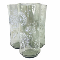 Vintage Libbey Smoke Gray White Dandelion 16oz Glass Tumblers Set of 4