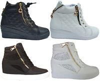 Womens Ladies Wedge Trainers Mid Heel Platform Sneakers High Top Hi Ankle Boots