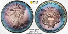 1993 American Silver Eagle PCGS MS68 DUAL Sided Colorful MONSTER RAINBOW TONING*