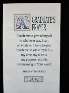 Vintage Graduation Card-Helen Steiner Rice-Graduate's Prayer- God Bless You