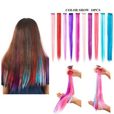 10Pcs Hair Extensions Clips Nylon Straight Streak Hair Accessories Multi-Colors