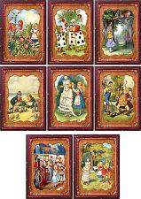 Vintage Alice in Wonderland tintype frame 8 cards tags ATC altered art set B