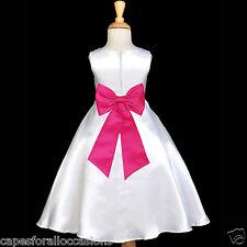 WHITE WEDDING COMMUNION BAPTISM FLOWER GIRL DRESS 18M 2 3T 4 5T 6 7 8 9 10 12 14