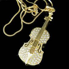 BIG w Swarovski Crystal Gold PL VIOLIN VIOLA CELLO Fiddle MUSIC Pendant Necklace