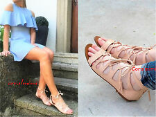 ZARA NEW NUDE ROMAN REAL LEATHER FLAT SANDALS SIZE 4