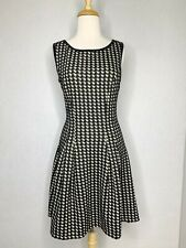 Max Studio Womens Sz S Dress Black Ivory Houndstooth Fit And Flare Pleated