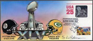 Peterman Hand Painted Steelers vs Packers Super Bowl XLV, Hologram Sc.#U618 F.D