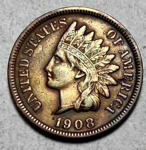 1908-S Indian Head Cent 1C Penny