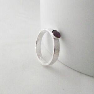 Gemstone Solitaire Ring Handmade Sterling Silver Hammer Finish Choose Your Gem