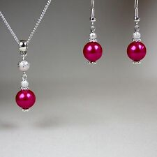 Hot pink pearl pendant necklace earrings silver wedding bridesmaid jewellery set