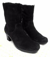 """Clarks women's 9 M black suede winter boots 39384 ankle lined 9"""" tall"""