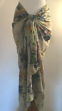 NEW Pia Rossini Amaroso Grey Floral Print Cotton Sarong Bikini Cover Up One Size
