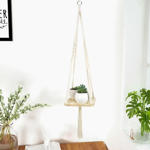 Nordic Style Wooden Hanging Rope Shelf Wall Mounted Floating Shelf Storage Decor