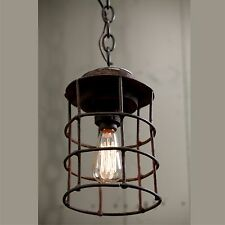 **REDUCED** Industrial Solid Metal Caged Pendant Light Rusty Finish