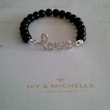 Glass Pearl Black Beaded Stretch Bracelet With Silver Love Connector
