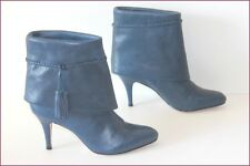 PAUL & JOE SISTER Bottines à Talons Tout Cuir Bleu Iris Revers T 37 TBE