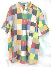 Mens Orvis Madras Shirt Patchwork Coolest Patch Size Large L New With Tags