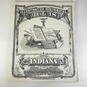 1876 Illustrated Historical Atlas of Indiana 1968 Reprint 14 X17