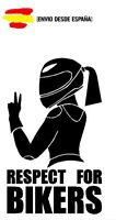 pegatina racing RESPECT FOR BIKERS GIRLS CHICA vinyl sticker racing decal 10X16