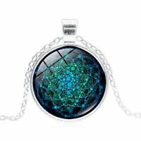 Flower of Life Necklace Chakra Glass Mandala Pendant Necklace Women Lover Gifts