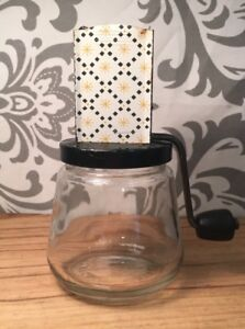 VINTAGE Androck USA Made CHEESE GARLIC SPICE GRINDER-GRATER GLASS JAR #Shelf
