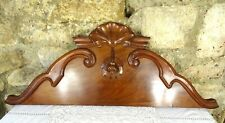 "35.5"" Antique French Hand Carved Walnut Wood Pediment - Crest - Flower"