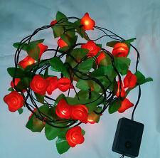 28Red Mini Rose Flower LED Fairy Lights in String Christmas and Home Decorations